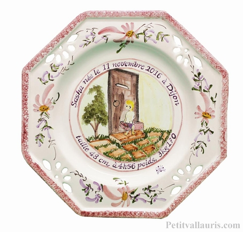 CERAMIC OCTAGONAL PLATE FOR MEMORY BIRTH BABY BOYS