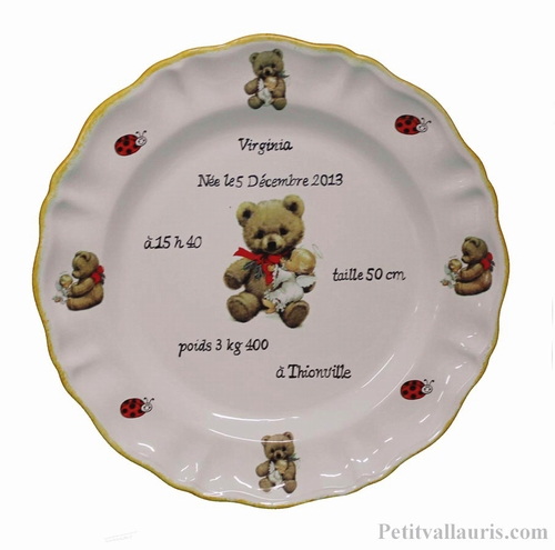 CERAMIC CUSTOMIZED BIRTH PLATE BEAR CUB DECORATION