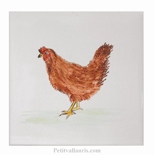 HAND MADE EARTENWARE WALL TILE WITH HEN FARM ANIMAL PATTERN