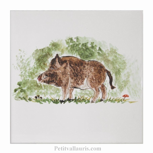 HAND MADE EARTENWARE TILE WITH BOAR WOODS ANIMAL PATTERN