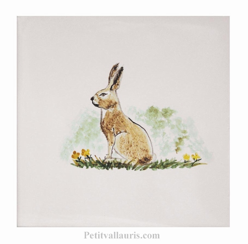 HAND MADE EARTENWARE TILE WITH HARE WOODS ANIMAL PATTERN