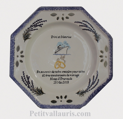 MARRIAGE PLATE OCTAGONAL MODEL CRUIZE BOAT AND LAVANDER DECO