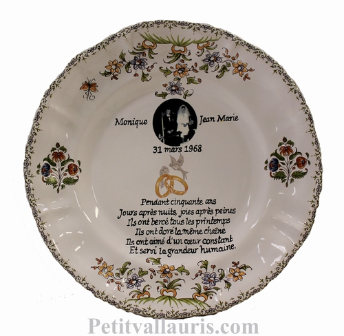 MARRIAGE PLATE LOUIS XV MODEL WITH PHOTO FOR WEDDING