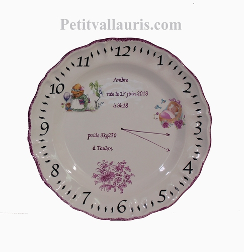 CERAMIC CUSTOMIZED PLATE FOR LITTLE GIRL BIRTH & MOUSE