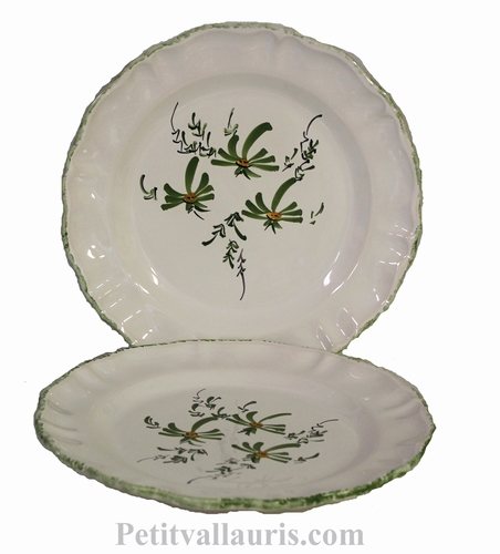 TABLE PLATE CERAMIC STYLE MODEL GREEN FLOWERS PAINT