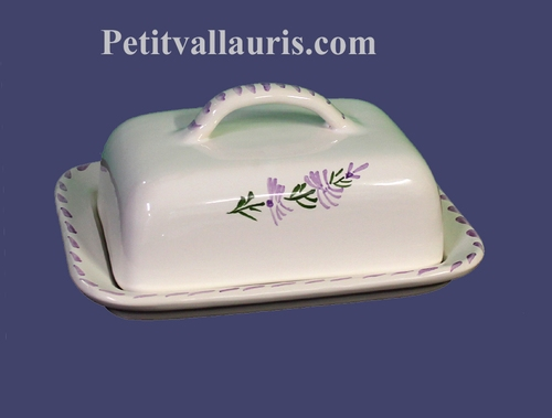 BEURRIER DE TABLE EN FAIENCE DECOR FLEURS DE LAVANDE