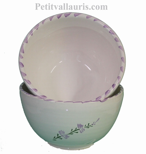 WHITE CERAMIC BOWL WITH LAVANDER FLOWER DECOR
