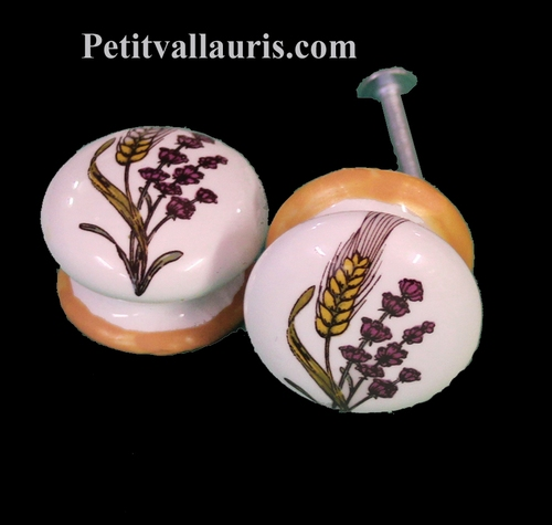 BUTTON DRAWER D35 LAVANDER AND EARS OF WHEAT DECOR
