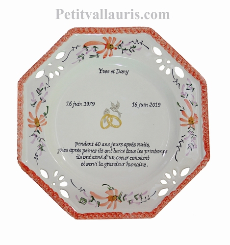 MARRIAGE PLATE OCTAGONAL MODEL RED FLOWERS WITH EMERALD POEM
