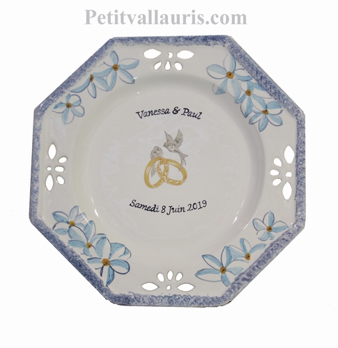 CERAMIC MARRIAGE PLATE OCTAGONAL MODEL FRANGIPANIER DECOR