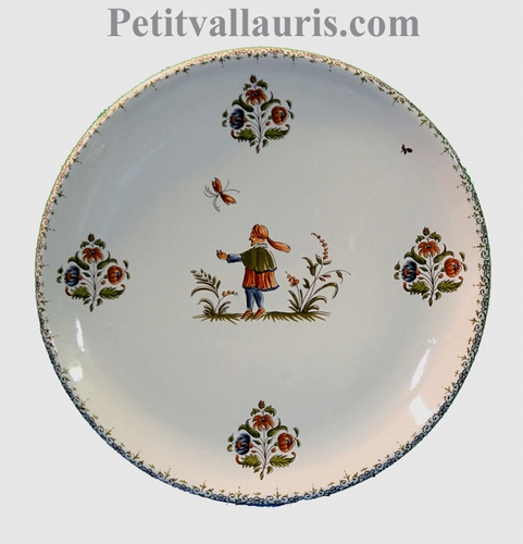 CERAMIC PLATE ROUND MODEL WITH OLD MOUSTIERS DECORATION (D)