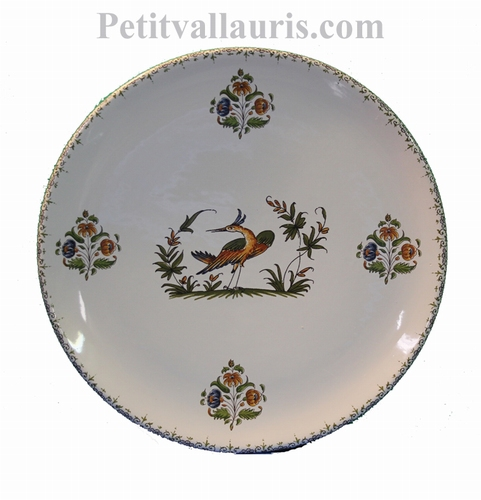 CERAMIC PLATE ROUND MODEL WITH OLD MOUSTIERS DECORATION (E)