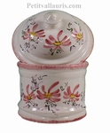 WHITE CERAMIC BATHROOM POT PINK FLOWERS DECOR