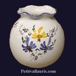 ROUND VASE BIG SIZE MODEL BLUE AND YELLOW FLOWERS