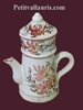 FAIENCE COFFEE POT PINK FLOWERS DECORATION