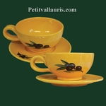 TEA-CUP AND UNDER CUP PROVENCAL DECORATION WITH BLACK OLIVES