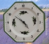 WHITE FAIENCE WALL CLOCK WITH BLACK OLIVES PAINTING