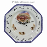 HORLOGE FAIENCE OCTOGONALE DECOR PAYSAGE