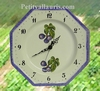 HORLOGE FAIENCE OCTOGONALE DECOR FIGUES VIOLETTES