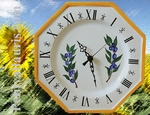 HORLOGE FAIENCE OCTOGONALE DECOR PROVENCAL OLIVES BLEUES