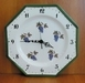 HORLOGE OCTOGONALE EN FAIENCE MURALE DECOR RAISINS