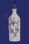 CERAMIC OILCAN BOTTLE WITH BLUE DECOR FLOWERS
