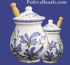 MUSTARD POT JAR MODEL BLUE FLOWERS DECORATION
