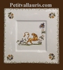DESSERT SQUARE PLATE OLD MOUSTIERS TRADITION DECORATION