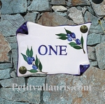 HOUSE PLAQUE SMALL MODEL PARCHMENT BLUE OLIVES