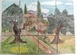 FRESCO WALL TILES PROVENCE OLD HOUSE AND OLIVE-TREE DECORA