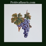EARTENWARE WALL TILE DECORATION WITH GRAPE