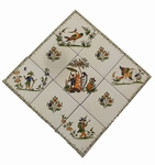 FRESQUE MURALE DECORATIVE SUR CARRELAGE MOTIF POLYCHROME