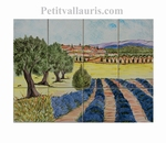 FRESCO WALL TILES VILLAGE LAVENDERS FIELDS, OLIVE-TREE DECOR