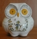 OWL SMALL SIZE MONEYBOX OLD MOUSTIERS TRADITION DECOR