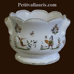 CACHE POT FESTONNE ANSE DECOR TRADITION VIEUX MOUSTIERS