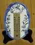 OVAL PLAQUE  WITH THERMOMETER BLUE MOUSTIERS TRADITION DECOR
