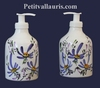 CERAMIC LIQUID SOAP DISPENSER BLUE FLOWERS DECORATION