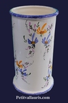 CERAMIC UMBRELLA-POT BLUE AND YELLOW FLOWERS DECORATION