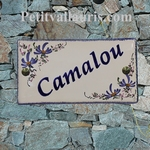 HOUSE PLAQUE RECTANGLE MODEL BLUE FLOWERS DECORATION