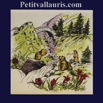 DECORATION MARMOTS AND WATERFALL IN SUMMER LANDSCAPE
