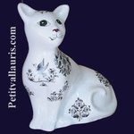 CAT MODEL MISTIGRI BLUE OLD MOUSTIERS TRADITION DECORATION