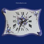 FAIENCE WALL CLOCK PARCHMENT MODEL BLUE FLOWERS PAINTING