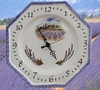 FAIENCE OCTAGONAL WALL CLOCK LAVENDERS FIELD DECORATION