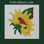 HAND MADE DECORATION SUNFLOWER ON FAIENCE TILE 15 X 15