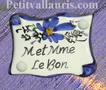 PARCHMENT DOOR PLAQUE BLUE FLOWER DECOR CUSTOMIZED TEXT