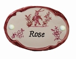 OVAL DOOR PLAQUE WITH NAME INSCRIPTION (PINK)