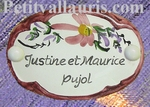 OVAL DOOR PLAQUE PINK FLOWER DECOR WITH CUSTOMIZED TEXT