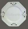 OCTAGONAL OPENWORK PLATE WHITE COLOR ENAMELLED SMALL SIZE