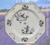 ASSIETTE OCTOGONALE AJOUREE DECOR TRADITION MOUSTIERS BLEU