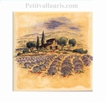 DECORATION TILE PROVENCE LAVANDER FIELDS YELLOW BACKGROUND